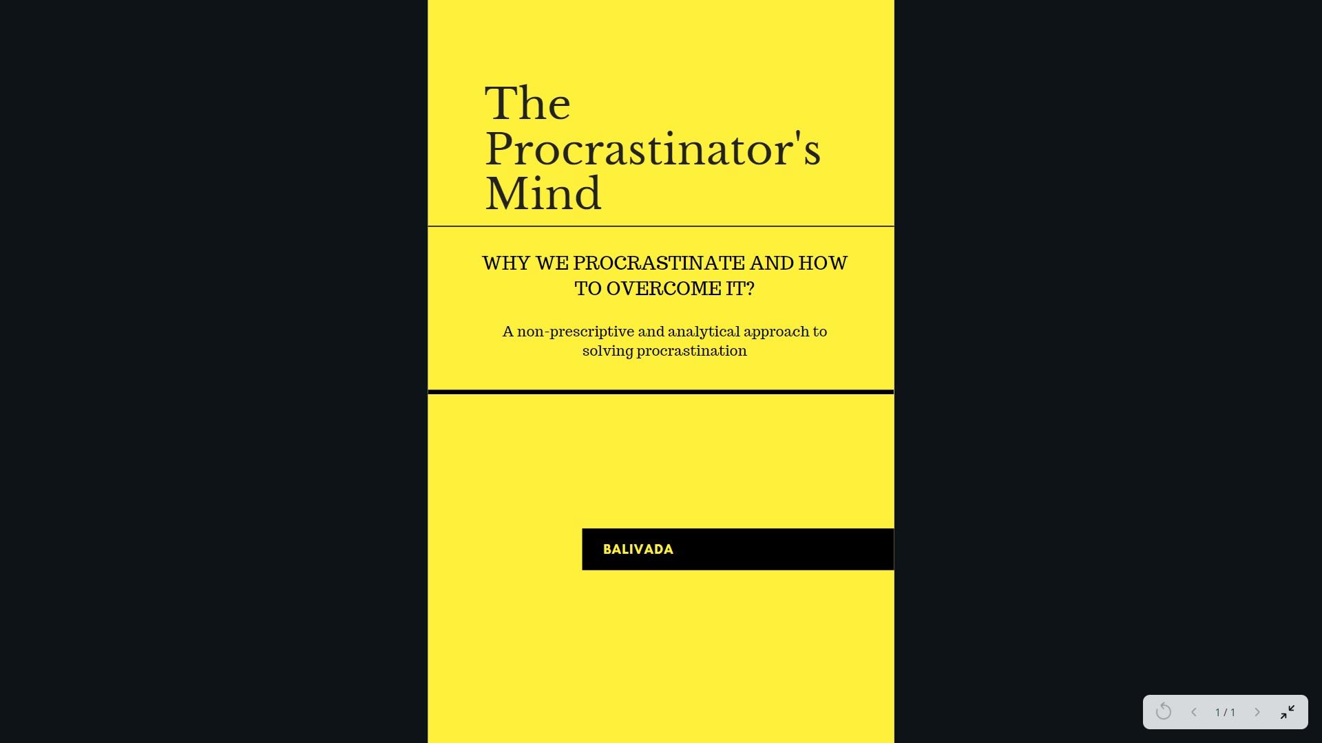 The Procrastinators Mind Book